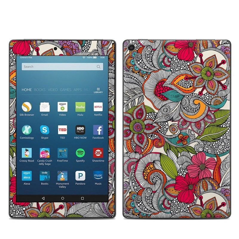 Amazon Fire HD 8 2018 Skin design of Pattern, Drawing, Visual arts, Art, Design, Doodle, Floral design, Motif, Illustration, Textile with gray, red, black, green, purple, blue colors