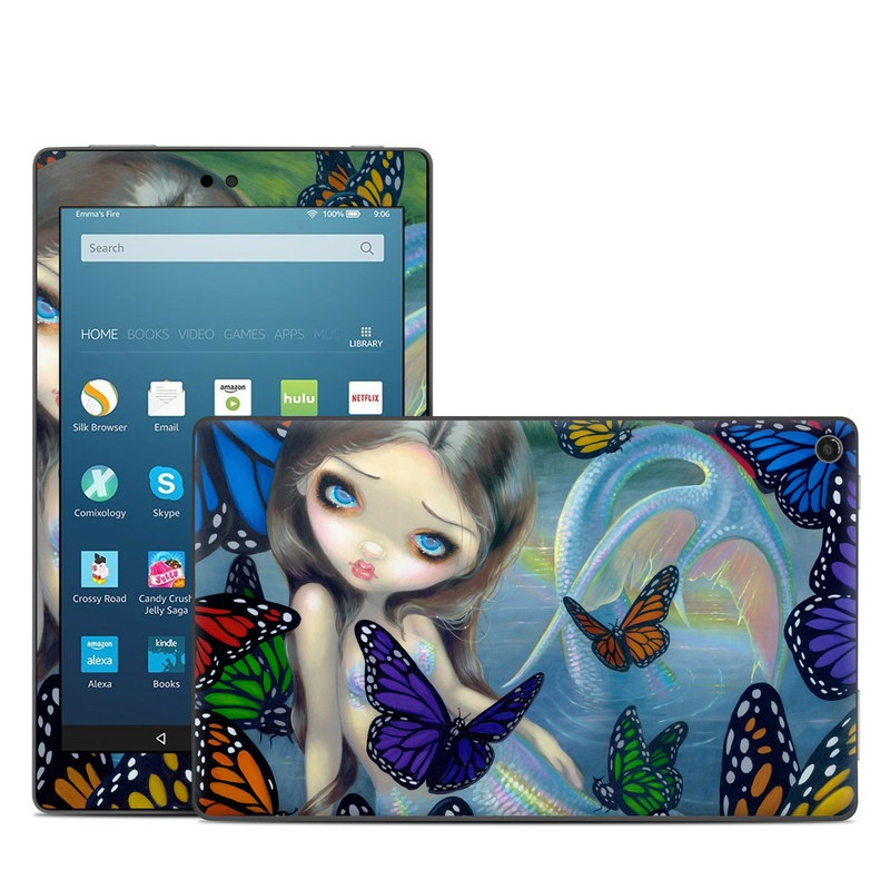Amazon Fire HD 8 2018 Skin design of Butterfly, Insect, Monarch butterfly, Moths and butterflies, Cynthia (subgenus), Invertebrate, Pollinator, Brush-footed butterfly, Organism, Art with gray, black, blue, red, pink colors