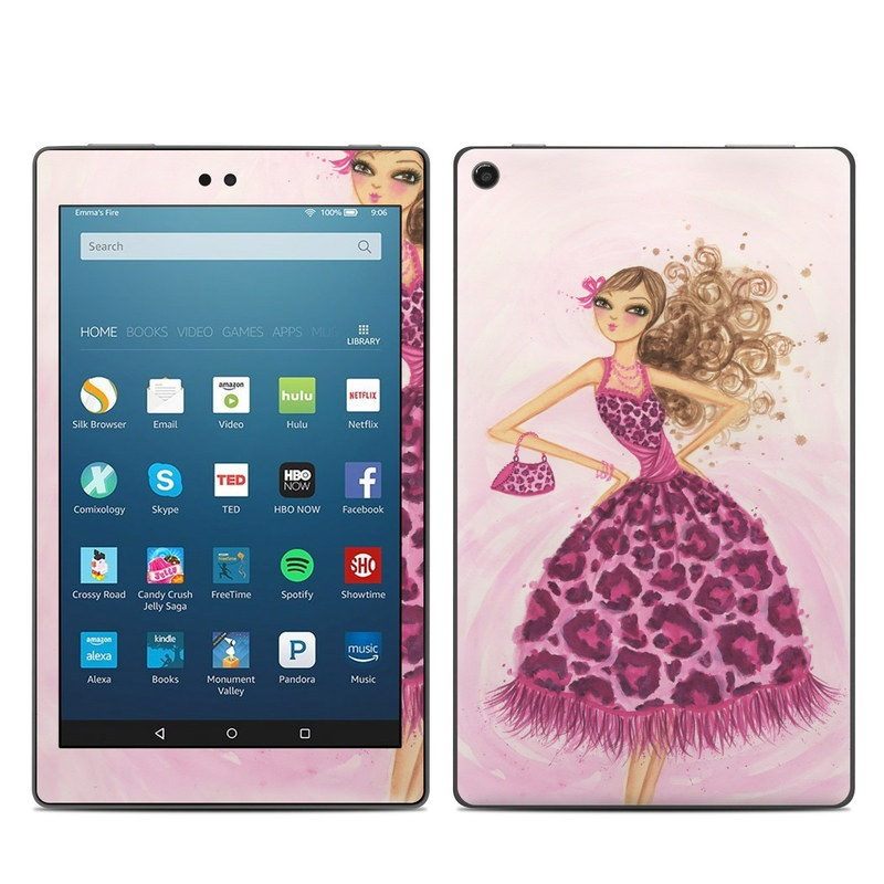Amazon Fire HD 8 2018 Skin design of Pink, Doll, Dress, Fashion illustration, Barbie, Fashion design, Illustration, Gown, Costume design, Toy with pink, gray, red, purple, green colors