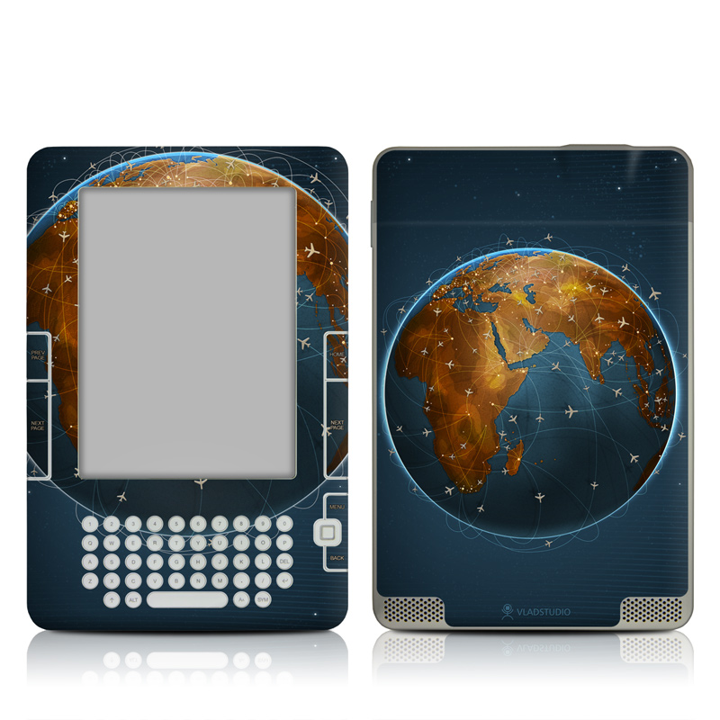 Amazon Kindle 2nd Gen Skin design of Planet, Earth, Astronomical object, World, Atmosphere, Globe, Space, Sky, Astronomy, Circle with blue, yellow, brown colors