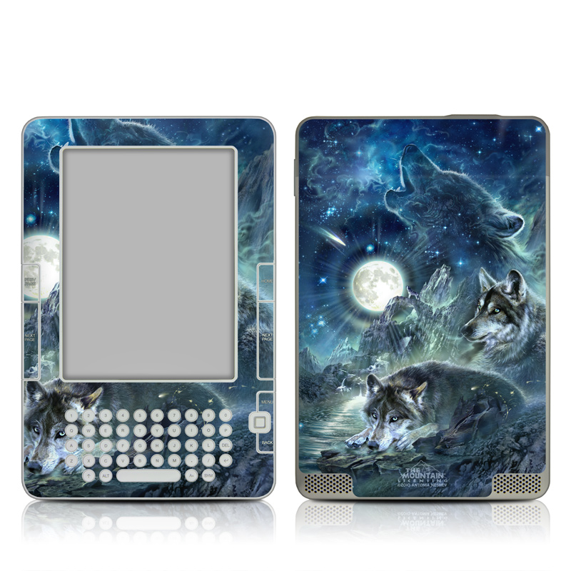 Amazon Kindle 2nd Gen Skin design of Cg artwork, Fictional character, Darkness, Werewolf, Illustration, Wolf, Mythical creature, Graphic design, Dragon, Mythology with black, blue, gray, white colors