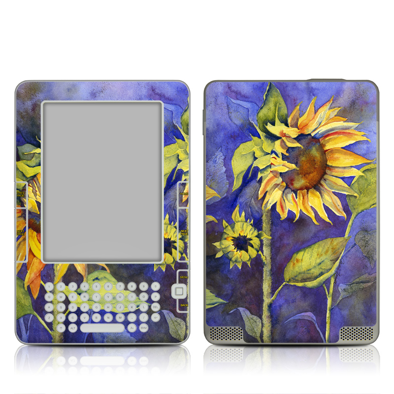 Amazon Kindle 2nd Gen Skin design of Flower, Sunflower, Painting, sunflower, Watercolor paint, Plant, Flowering plant, Yellow, Acrylic paint, Still life with green, black, blue, gray, red, orange colors