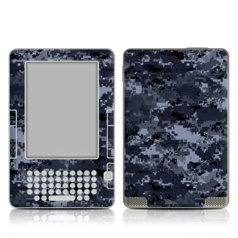 Amazon Kindle 2nd Gen Skin design of Military camouflage, Black, Pattern, Blue, Camouflage, Design, Uniform, Textile, Black-and-white, Space with black, gray, blue colors