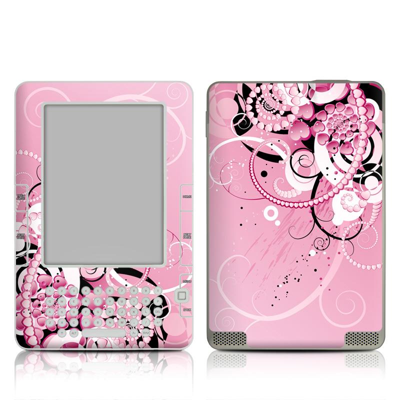 Amazon Kindle 2nd Gen Skin design of Pink, Floral design, Graphic design, Text, Design, Flower Arranging, Pattern, Illustration, Flower, Floristry with pink, gray, black, white, purple, red colors