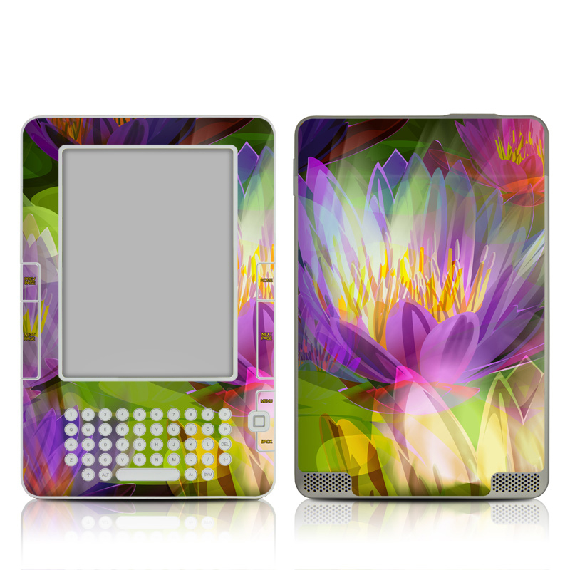 Amazon Kindle 2nd Gen Skin design of Flowering plant, Flower, Petal, Violet, Aquatic plant, Purple, water lily, Plant, Botany, Close-up with gray, green, black, purple, red colors