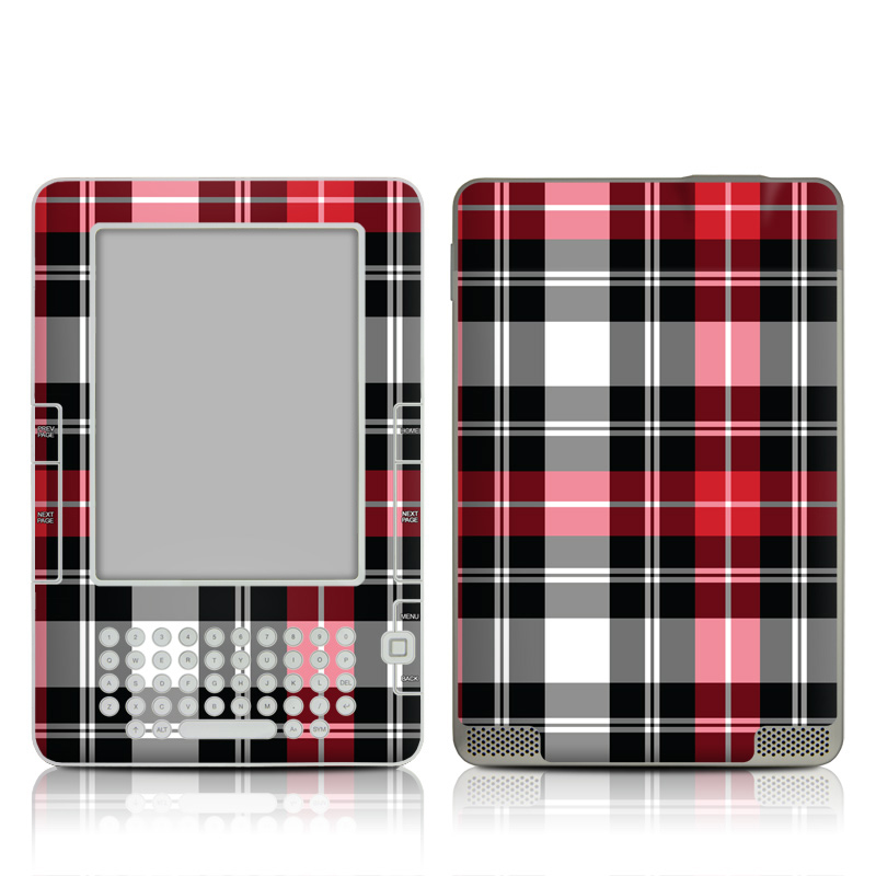 Amazon Kindle 2nd Gen Skin design of Plaid, Tartan, Pattern, Red, Textile, Design, Line, Pink, Magenta, Square with black, gray, pink, red, white colors