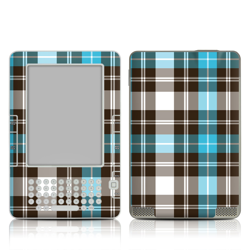 Turquoise Plaid Amazon Kindle 2 Skin