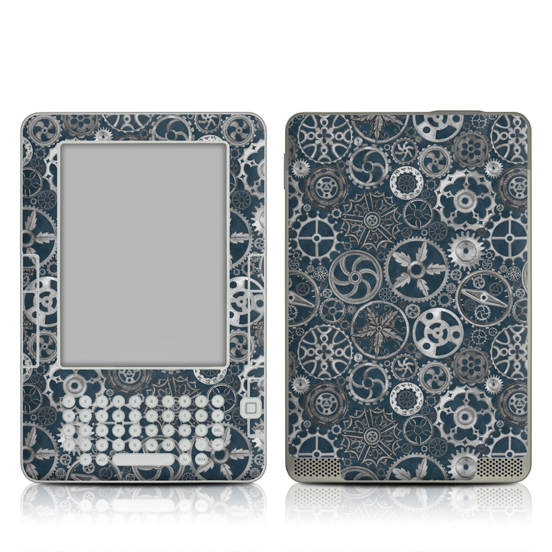 Silver Gears Amazon Kindle 2 Skin