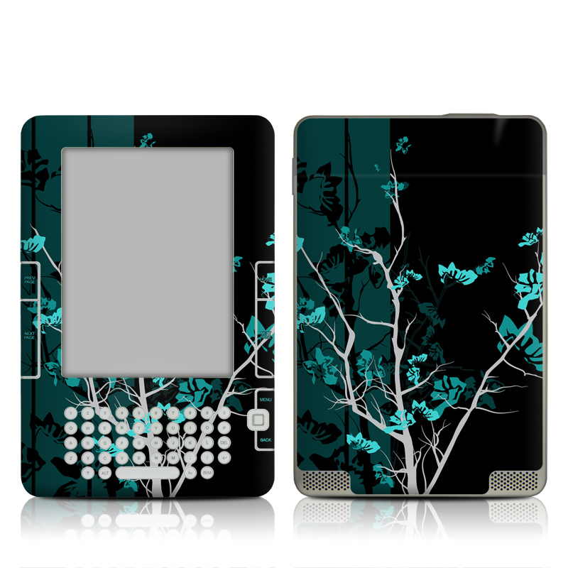 Amazon Kindle 2nd Gen Skin design of Branch, Black, Blue, Green, Turquoise, Teal, Tree, Plant, Graphic design, Twig with black, blue, gray colors