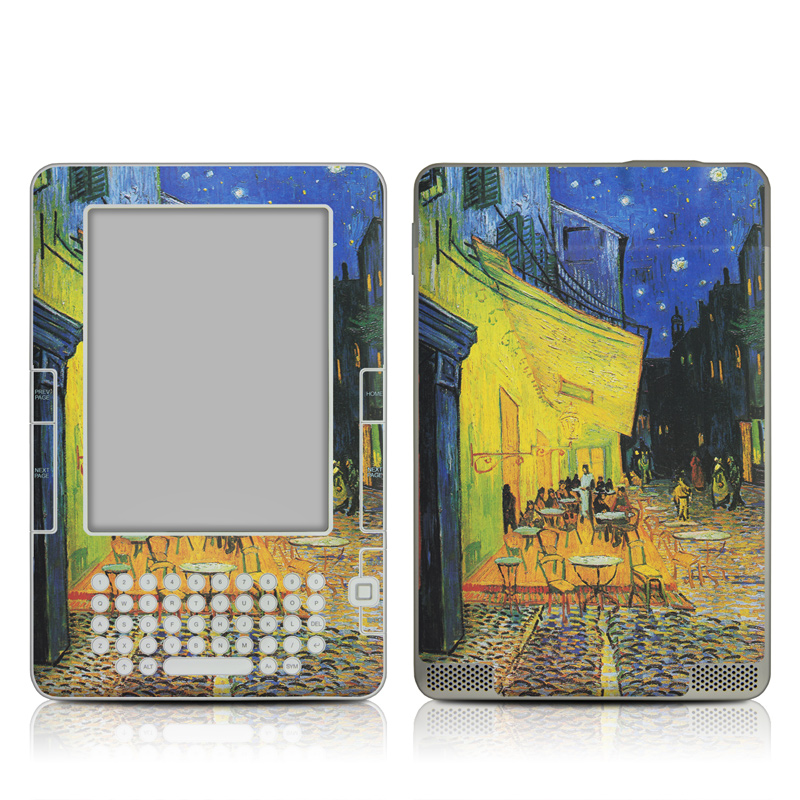 Amazon Kindle 2nd Gen Skin design of Painting, Art, Yellow, Watercolor paint, Illustration, Modern art, Visual arts, Street, Infrastructure, Tree with green, black, blue, gray, red colors