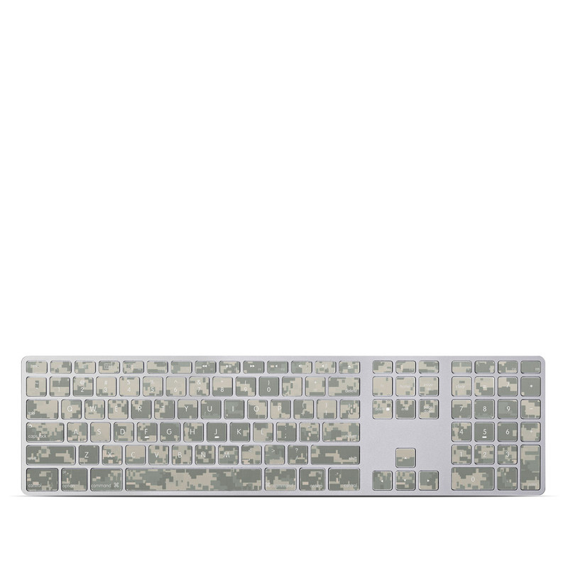 Apple Keyboard with Numeric Keypad Skin design of Military camouflage, Green, Pattern, Uniform, Camouflage, Design, Wallpaper with gray, green colors