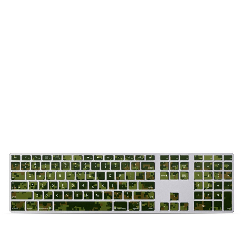 Apple Keyboard with Numeric Keypad Skin design of Military camouflage, Green, Pattern, Uniform, Camouflage, Clothing, Design, Leaf, Plant with green, brown colors