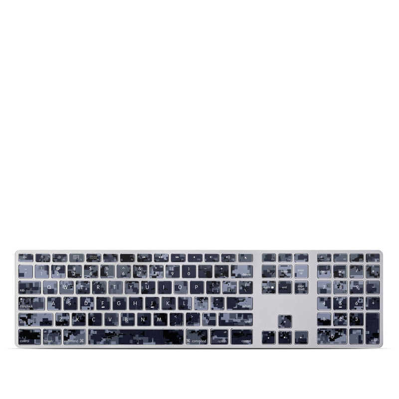 Apple Keyboard with Numeric Keypad Skin design of Military camouflage, Black, Pattern, Blue, Camouflage, Design, Uniform, Textile, Black-and-white, Space with black, gray, blue colors