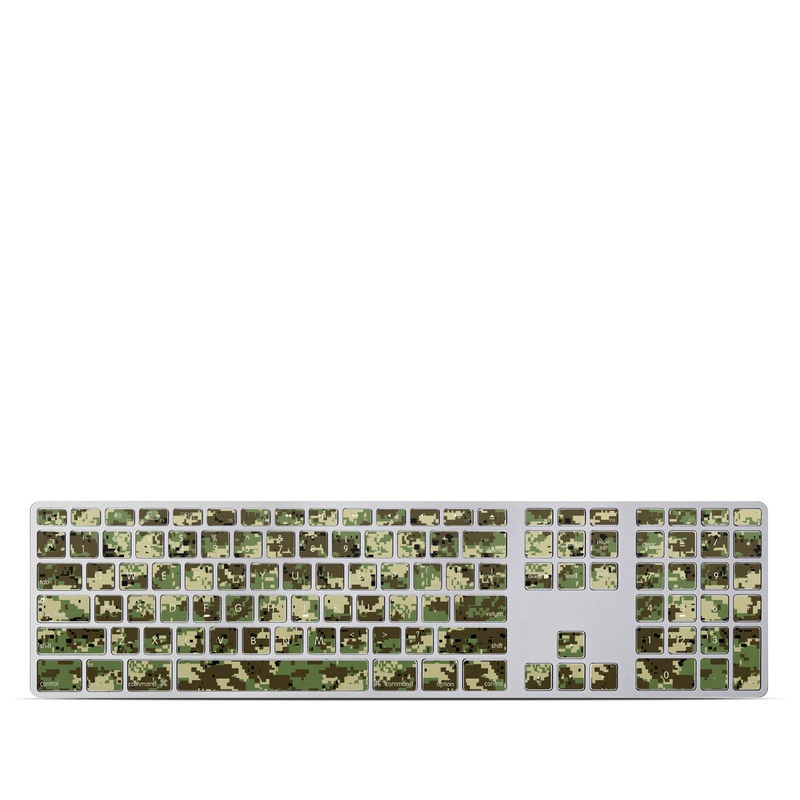 Apple Keyboard with Numeric Keypad Skin design of Military camouflage, Pattern, Camouflage, Green, Uniform, Clothing, Design, Military uniform with black, gray, green colors