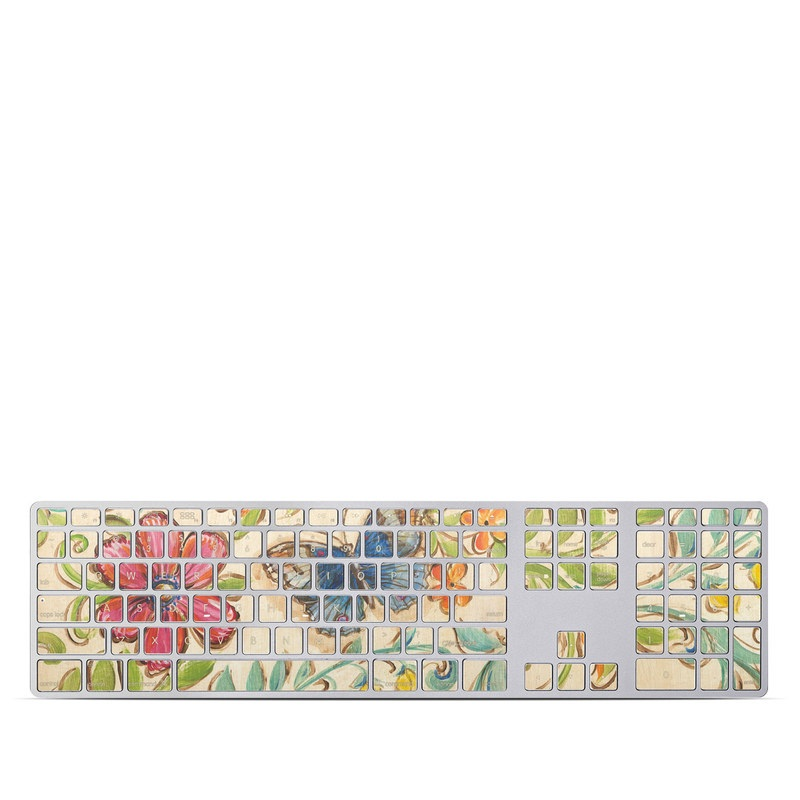 Apple Keyboard with Numeric Keypad Skin design of Butterfly, Moths and butterflies, Insect, Pollinator, Plant, Pattern, Watercolor paint, Wildflower, Visual arts, Brush-footed butterfly with gray, pink, green, red, orange, blue colors