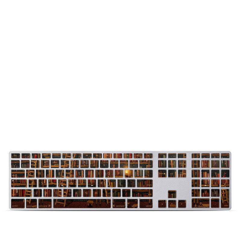 Apple Keyboard with Numeric Keypad Skin design of Shelving, Library, Bookcase, Shelf, Furniture, Book, Building, Publication, Room, Darkness with black, red colors