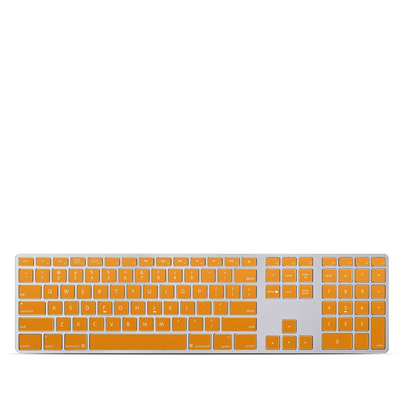 Solid State Orange Apple Keyboard with Numeric Keypad Skin