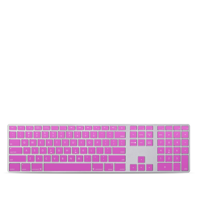 Apple Keyboard with Numeric Keypad Skin design of Violet, Pink, Purple, Red, Lilac, Magenta, Blue, Lavender, Text, Sky with pink colors