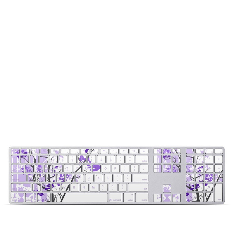 Apple Keyboard with Numeric Keypad Skin design of Branch, Purple, Violet, Lilac, Lavender, Plant, Twig, Flower, Tree, Wildflower with white, purple, gray, pink, black colors