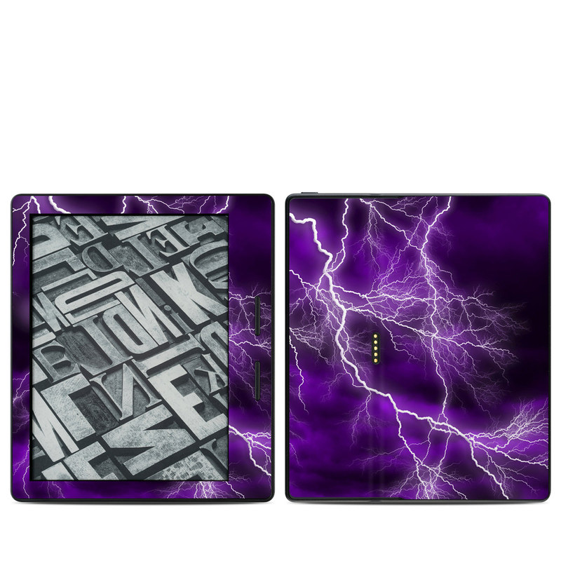 Amazon Kindle Oasis 1st Gen Skin design of Thunder, Lightning, Thunderstorm, Sky, Nature, Purple, Violet, Atmosphere, Storm, Electric blue with purple, black, white colors