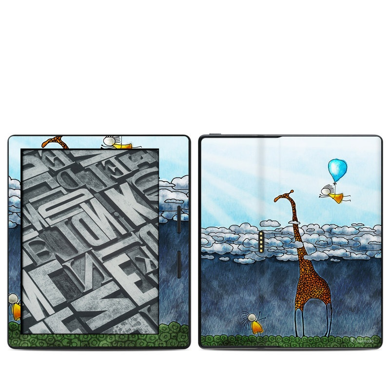 Amazon Kindle Oasis 1st Gen Skin design of Giraffe, Sky, Tree, Water, Branch, Giraffidae, Illustration, Cloud, Grassland, Bird with blue, gray, yellow, green colors