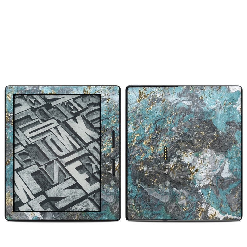 Amazon Kindle Oasis 1st Gen Skin design of Blue, Turquoise, Green, Aqua, Teal, Geology, Rock, Painting, Pattern with black, white, gray, green, blue colors