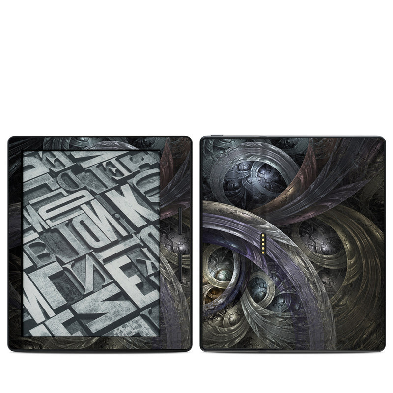 Amazon Kindle Oasis 1st Gen Skin design of Fractal art, Graphic design, Art, Cg artwork, Darkness, Circle, Pattern, Illustration, Graphics, Metal with black, gray, blue colors