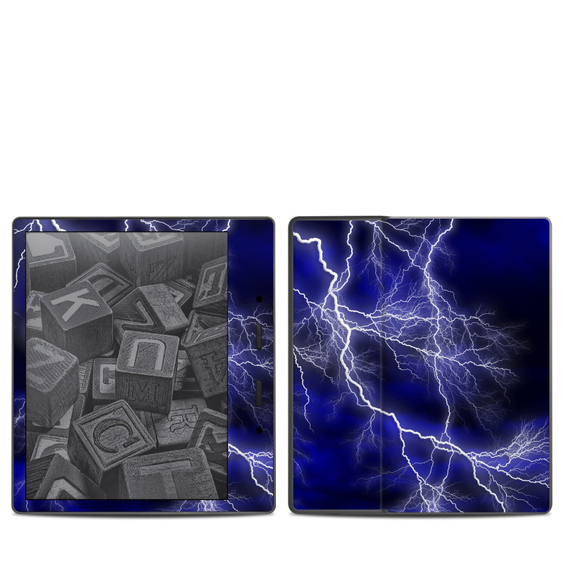 Amazon Kindle Oasis 2nd Gen Skin design of Thunder, Lightning, Thunderstorm, Sky, Nature, Electric blue, Atmosphere, Daytime, Blue, Atmospheric phenomenon with blue, black, white colors