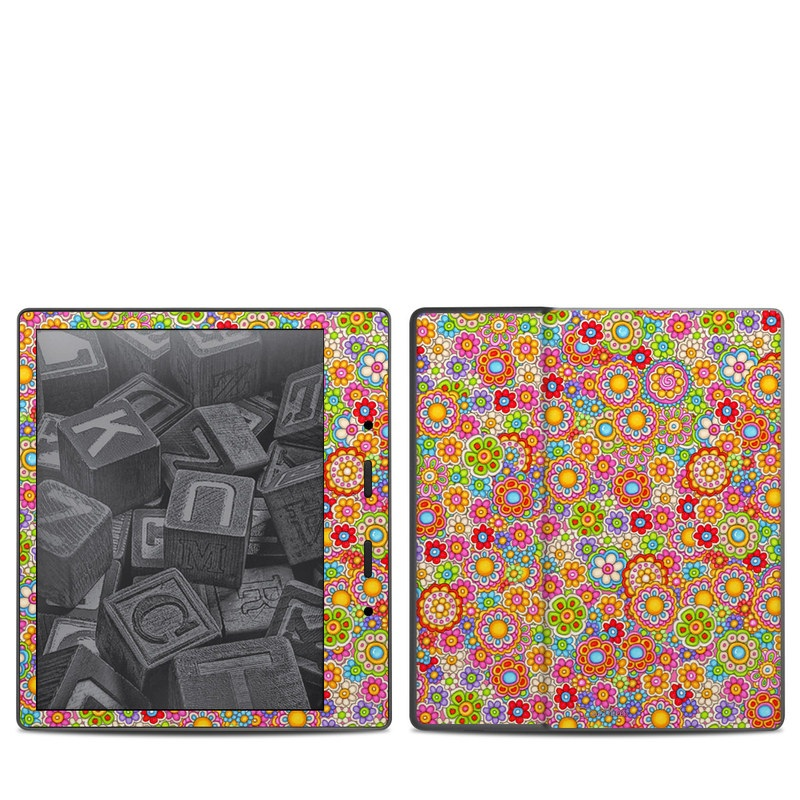 Amazon Kindle Oasis 2nd Gen Skin design of Pattern, Design, Textile, Visual arts with pink, red, orange, yellow, green, blue, purple colors