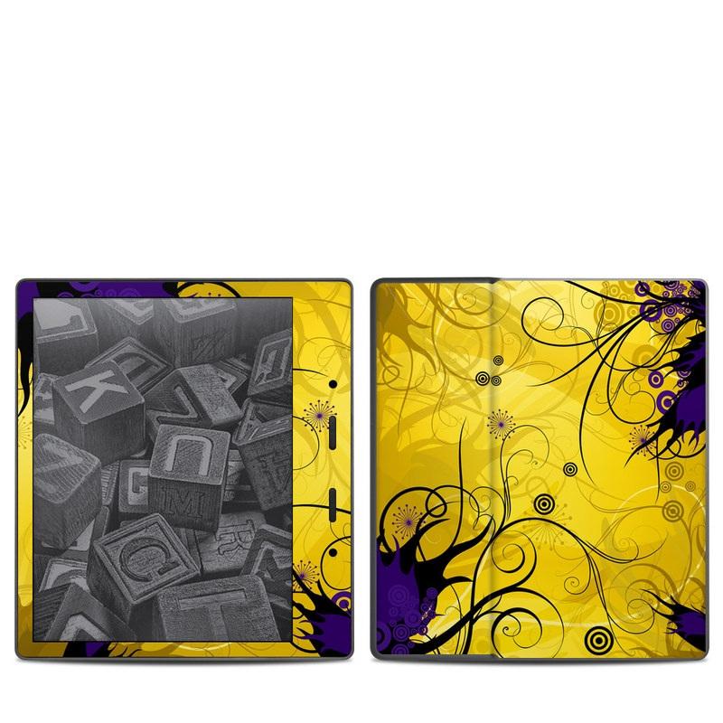 Amazon Kindle Oasis 2nd Gen Skin design of Yellow, Pattern, Floral design, Purple, Graphic design, Design, Wallpaper, Art, Illustration, Visual arts with orange, yellow, black, purple colors