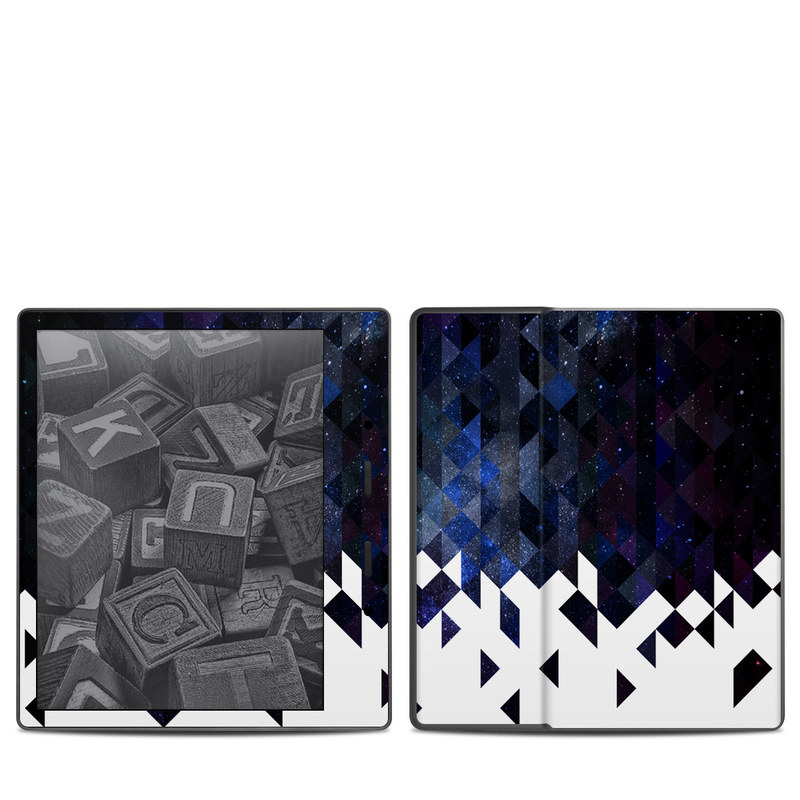 Amazon Kindle Oasis 2nd Gen Skin design of Text, Pattern, Graphic design, Font, Purple, Design, Line, Triangle, Logo, Graphics with black, blue, white colors