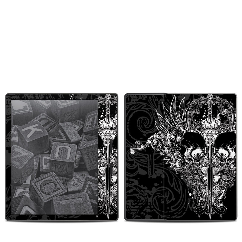 Amazon Kindle Oasis 2nd Gen Skin design of Illustration, Art, Design, Monochrome, Graphic design, Pattern, Fictional character, Skull, Black-and-white, Graphics with black, gray colors