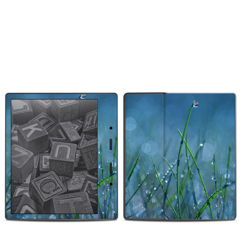 Amazon Kindle Oasis 2nd Gen Skin design of Moisture, Dew, Water, Green, Grass, Plant, Drop, Grass family, Macro photography, Close-up with blue, black, green, gray colors