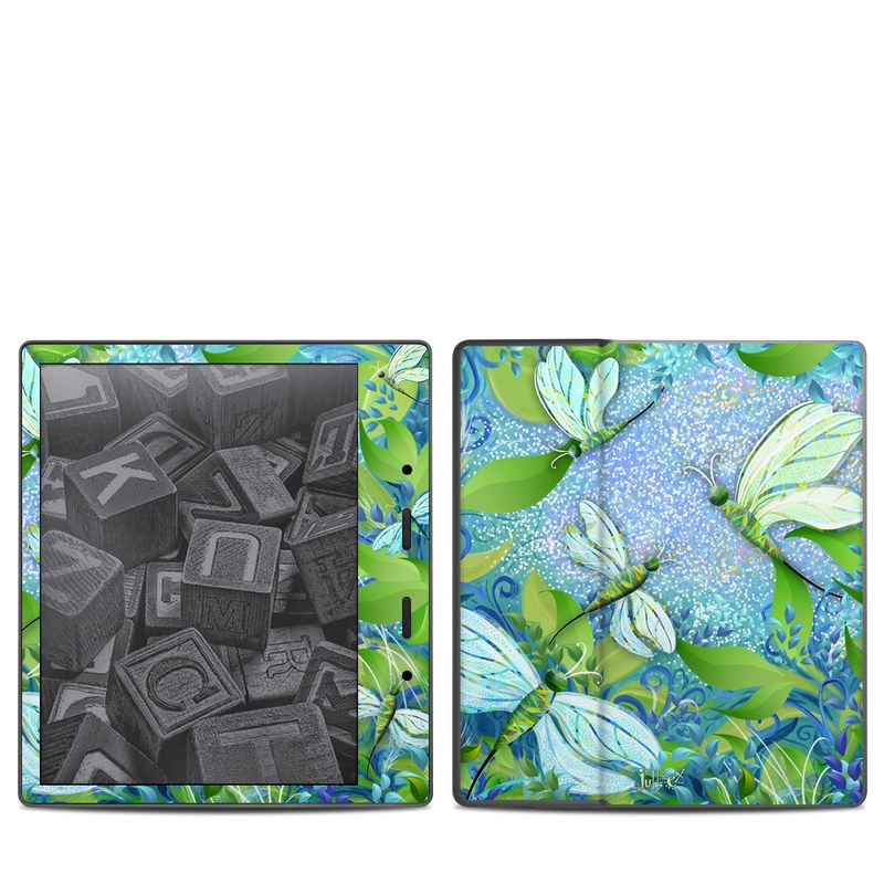 Amazon Kindle Oasis 2nd Gen Skin design of Green, Blue, Leaf, Plant, Pattern, Tree, Design, Organism, Branch, Flower with gray, blue, green, purple colors