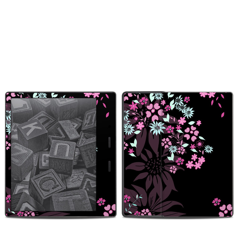 Amazon Kindle Oasis 2nd Gen Skin design of Pink, Pattern, Flower, Plant, Botany, Petal, Floral design, Design, Pedicel, Graphic design with black, gray, purple, green, red, pink colors