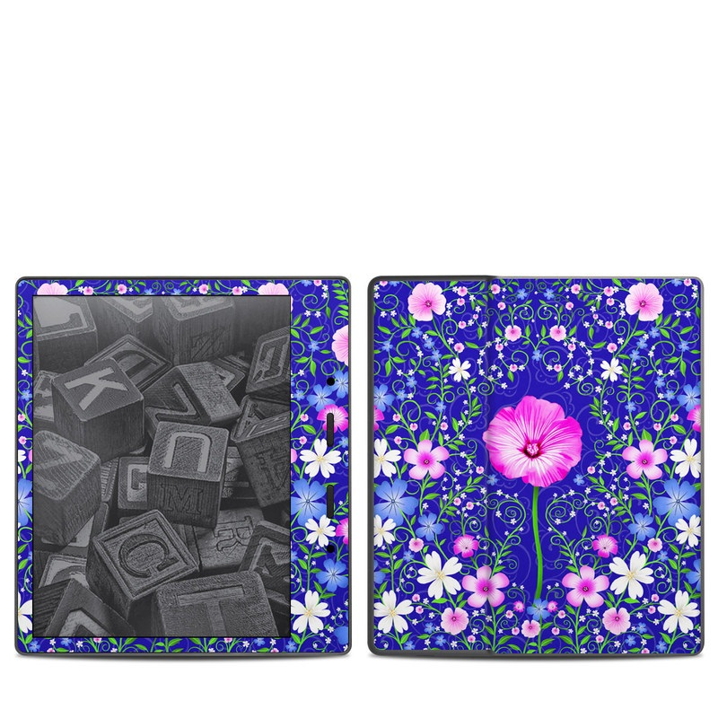Amazon Kindle Oasis 2nd Gen Skin design of Purple, Violet, Flower, Plant, Wildflower, Pattern, Petal, Design, Graphics, Morning glory with blue, purple, pink, green, white, yellow colors