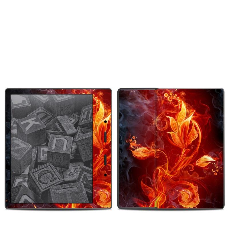 Amazon Kindle Oasis 2nd Gen Skin design of Flame, Fire, Heat, Red, Orange, Fractal art, Graphic design, Geological phenomenon, Design, Organism with black, red, orange colors