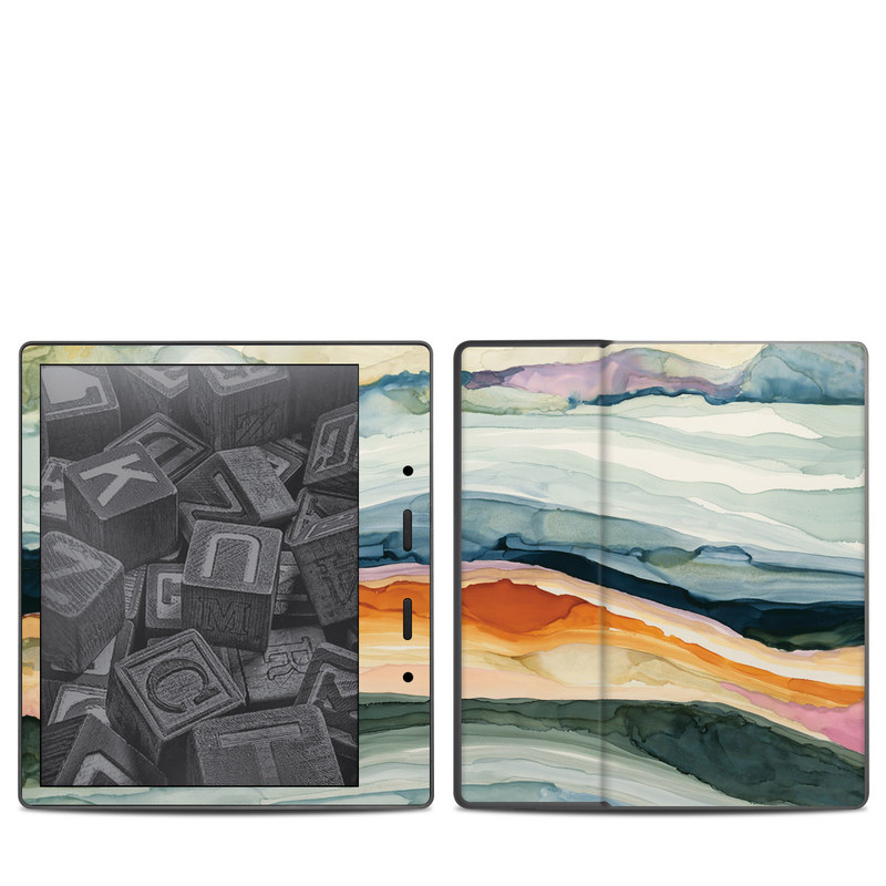 Amazon Kindle Oasis 2nd Gen Skin design of Watercolor paint, Painting, Sky, Wave, Geology, Landscape, Pattern, Acrylic paint, Cloud, Paint with blue, purple, orange, yellow, red, green, brown colors