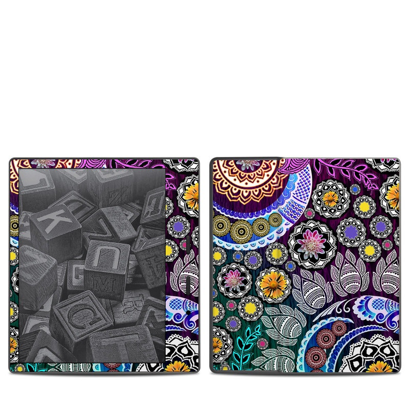Amazon Kindle Oasis 2nd Gen Skin design of Pattern, Psychedelic art, Art, Visual arts, Design, Floral design, Textile, Motif, Circle, Illustration with black, gray, purple, blue, green, red colors