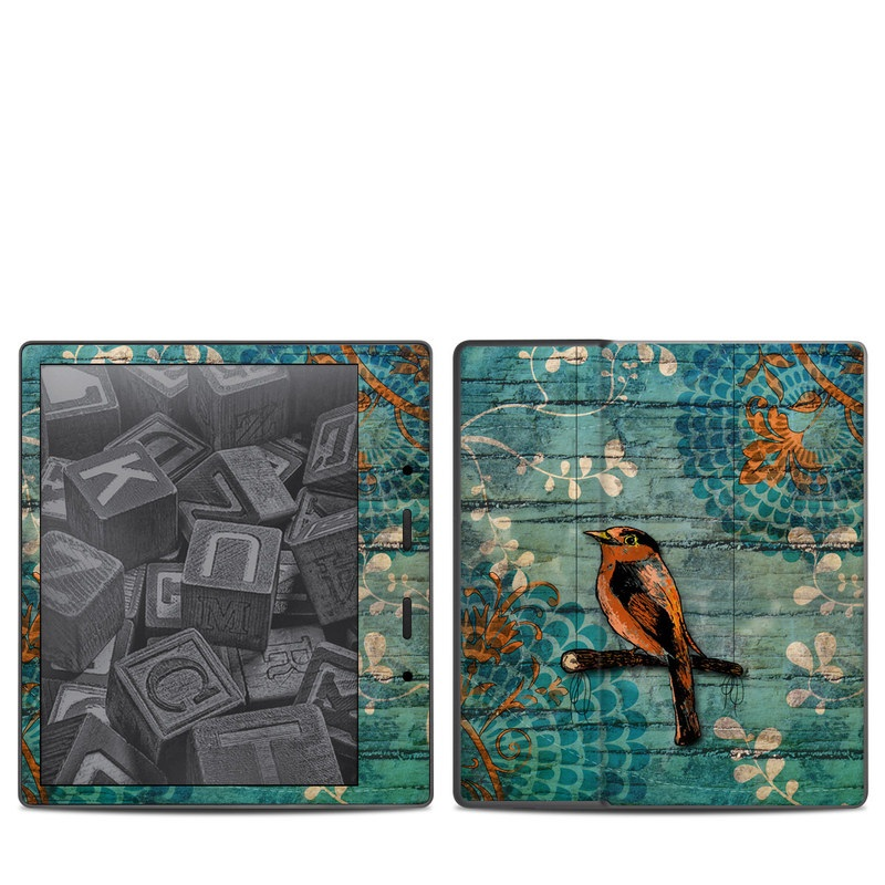 Amazon Kindle Oasis 2nd Gen Skin design of Bird, Turquoise, Painting, Art, Coraciiformes, Branch, Beak, Wildlife, Perching bird, Illustration with black, blue, gray, green, red colors