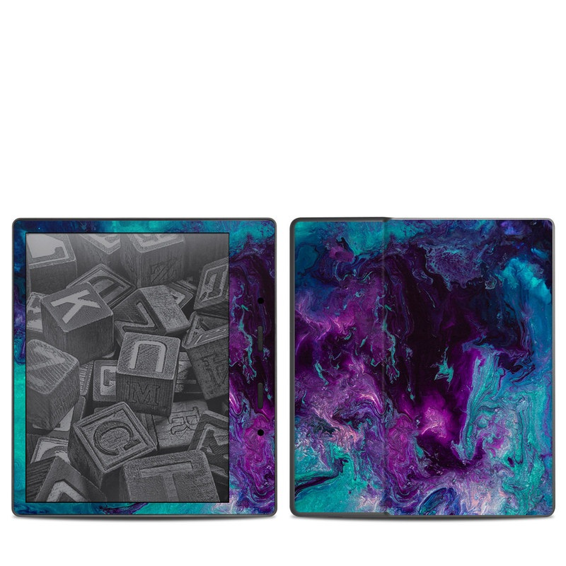 Amazon Kindle Oasis 2nd Gen Skin design of Blue, Purple, Violet, Water, Turquoise, Aqua, Pink, Magenta, Teal, Electric blue with blue, purple, black colors