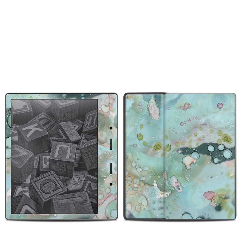 Amazon Kindle Oasis 2nd Gen Skin design of Aqua, Blue, Green, Watercolor paint, Pattern, Turquoise, Organism, Design, Art, Painting with blue, green, pink colors