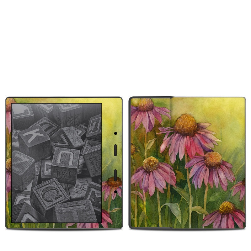 Amazon Kindle Oasis 2nd Gen Skin design of Flowering plant, Purple coneflower, Coneflower, Flower, Plant, Watercolor paint, Wildflower, black-eyed susan, Petal, Daisy family with black, green, red, gray, purple colors
