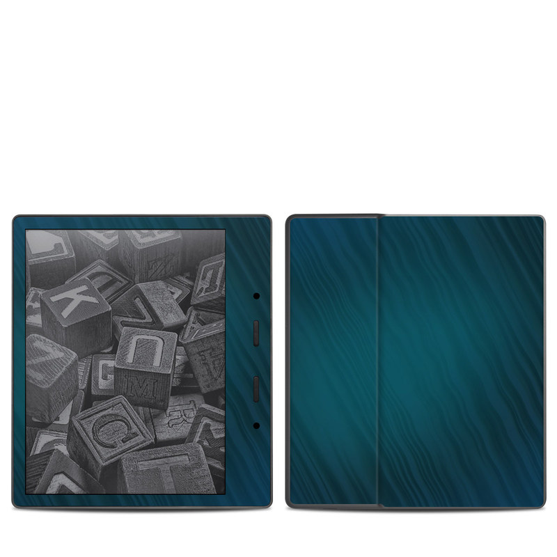 Amazon Kindle Oasis 2nd Gen Skin design of Blue, Aqua, Turquoise, Green, Azure, Teal, Electric blue, Pattern, Sky, Atmosphere with black, blue colors