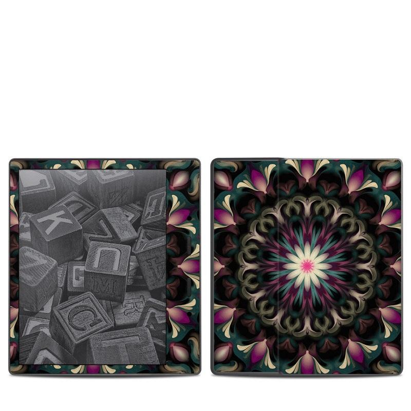 Amazon Kindle Oasis 2nd Gen Skin design of Fractal art, Pattern, Pink, Psychedelic art, Art, Kaleidoscope, Design, Symmetry, Visual arts, Textile with black, purple, white, green, blue colors