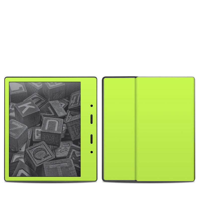 Amazon Kindle Oasis 2nd Gen Skin design of Green, Yellow, Text, Leaf, Font, Grass with green colors