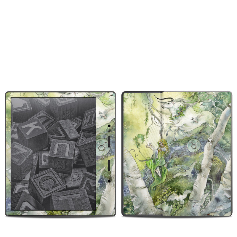 Amazon Kindle Oasis 2nd Gen Skin design of Watercolor paint, Tree, Illustration, Plant, Art, Painting, Paint with gray, green, black, yellow colors