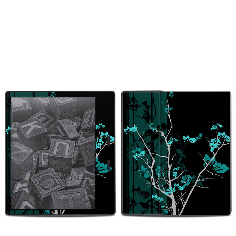 Amazon Kindle Oasis 2nd Gen Skin design of Branch, Black, Blue, Green, Turquoise, Teal, Tree, Plant, Graphic design, Twig with black, blue, gray colors