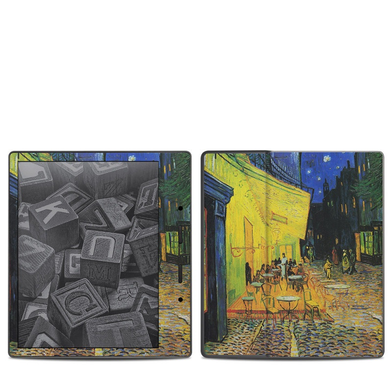 Amazon Kindle Oasis 2nd Gen Skin design of Painting, Art, Yellow, Watercolor paint, Illustration, Modern art, Visual arts, Street, Infrastructure, Tree with green, black, blue, gray, red colors