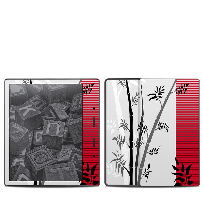 Amazon Kindle Oasis 2nd Gen Skin design of Botany, Plant, Branch, Plant stem, Tree, Bamboo, Pedicel, Black-and-white, Flower, Twig with gray, red, black, white colors